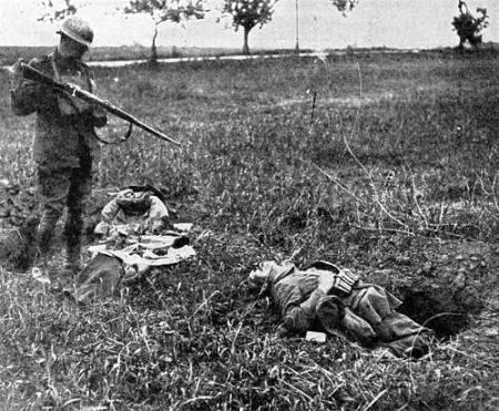 An der Westfront gefallener deutscher Soldat