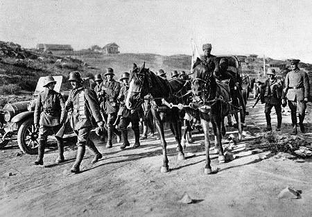 Deutsche Truppen im Vormarsch auf Tiflis 1918